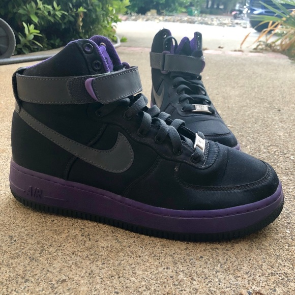 nice shoes 26e1f 1a619 Purple and Black Nike Air Force 1 High Tops